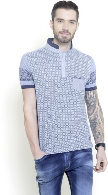 Metal Gear Printed Men's Polo Neck Blue T-Shirt