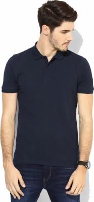 Tripr Solid Men's Polo Neck Dark Blue T-Shirt