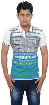 Lampara Striped Men's Polo Neck White T-Shirt
