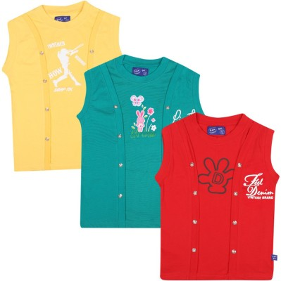 SPN Garments Printed Girl,s Round Neck Yellow, Green, Red T-Shirt