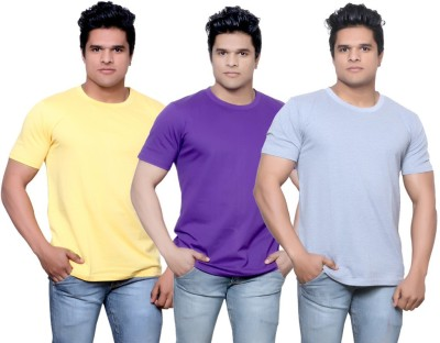 IndiStar Solid Men's Fashion Neck Pink, Purple, Grey T-Shirt