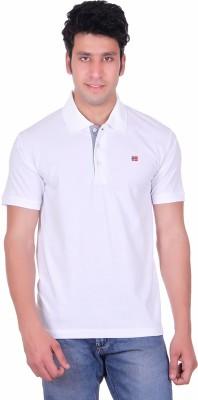 Deutz Solid Men's Polo Neck White T-Shirt