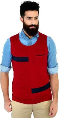Mr Button Solid Men's Round Neck Red T-Shirt