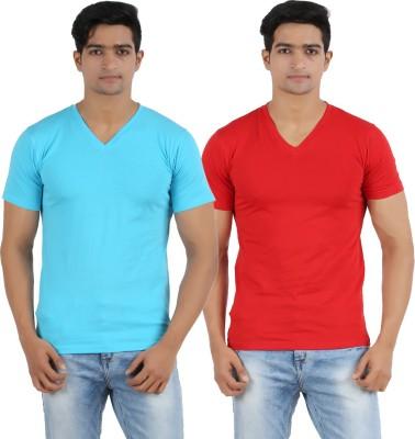Lyril Solid Men's V-neck Blue, Red T-Shirt