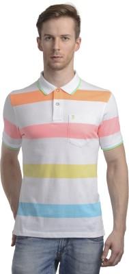 WRIG Striped Men's Polo Neck White T-Shirt