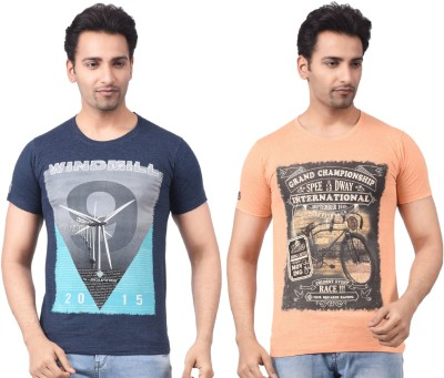 Four Squares Graphic Print Men's Round Neck Dark Blue, Brown T-Shirt