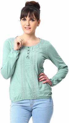 ESPRESSO Solid Women's Round Neck Green T-Shirt