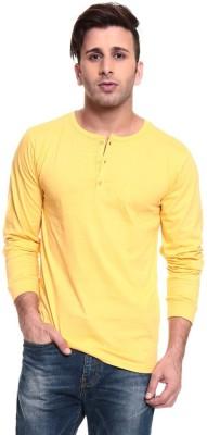 Ansh Fashion Wear Solid Men's Henley Yellow T-Shirt