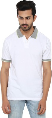 Ruse Solid Men's Polo Neck White, Grey T-Shirt