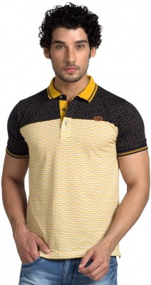 Klub Fox Checkered Men's Polo Neck Yellow T-Shirt