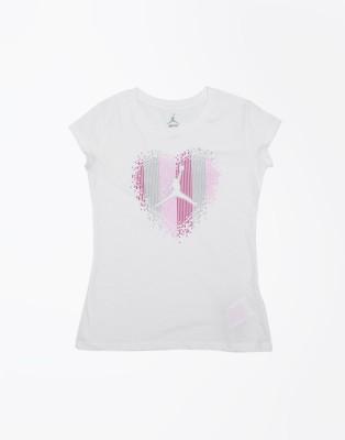 Jordan Kids Printed Girl's Round Neck White T-Shirt