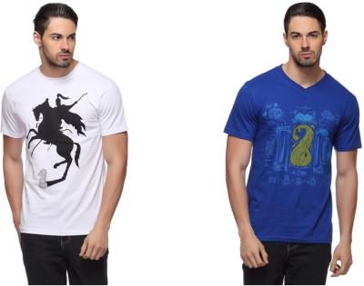 LLO Fashions Printed Men,s Round Neck, V-neck Multicolor T-Shirt