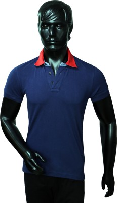 Starsy Solid Men's Polo Blue T-Shirt