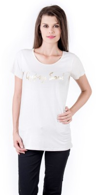 Gypsy Soul Solid Women's Round Neck White T-Shirt