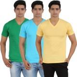 Lyril Solid Men's V-neck Yellow, Dark Gr...