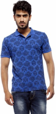 Trendy Bandey Printed Men's Peter Pan Collar Blue T-Shirt