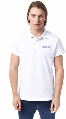 Just Cavalli Solid Men's Polo White T-Shirt