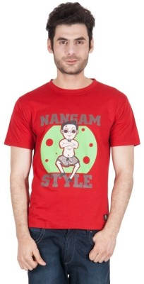 The Enthu Cutlet Graphic Print Men's Round Neck Red T-Shirt