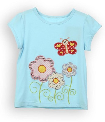 Lilliput Solid Girls Round Neck Blue T-Shirt