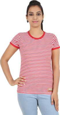 Recca Striped Women,s Round Neck Red T-Shirt