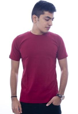 Urban Flux Solid Men's Round Neck Maroon T-Shirt