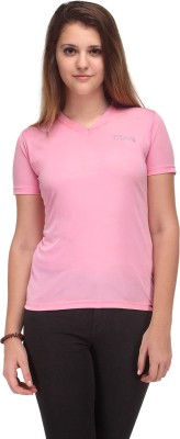 Oleva Solid Women's V-neck Reversible Pink T-Shirt