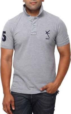Yross Self Design Men's Polo Neck Grey T-Shirt
