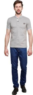 99Hunts Solid Men's Polo Neck Grey T-Shirt