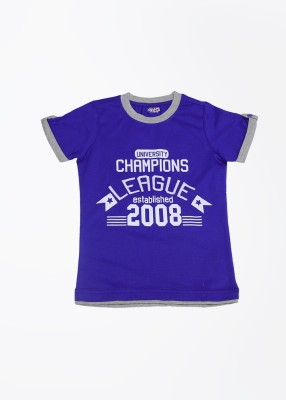 People Printed Boy's Round Neck Blue T-Shirt