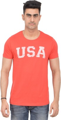 Grapefruit Florida Printed Men's Round Neck Orange T-Shirt