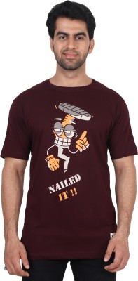 T Clobbers Graphic Print Men's Round Neck, V-neck Maroon T-Shirt