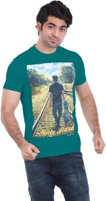 Zulements Printed Men's Round Neck Light Green T-Shirt