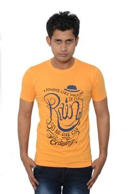 Lampara Printed Men's Round Neck Yellow T-Shirt