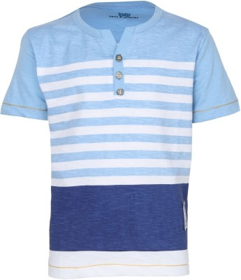 Bells and Whistles Printed Baby Boy,s Henley Blue T-Shirt