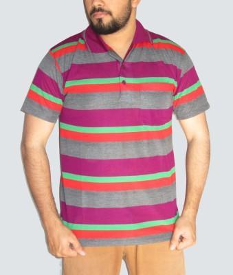 GouGas Striped Men's Polo Neck Multicolor T-Shirt
