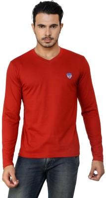 Free Spirit Solid Men's V-neck Red T-Shirt