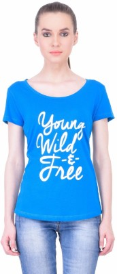 The Dry State Graphic Print Women's Round Neck Blue T-Shirt