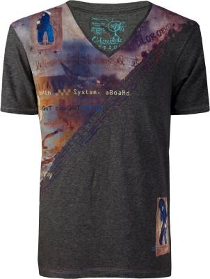 Chlorophile Printed Men's V-neck Grey T-Shirt