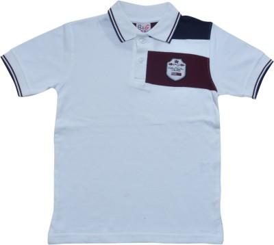 BG Casuals Solid Boy's Polo Neck White, Dark Blue, Maroon T-Shirt