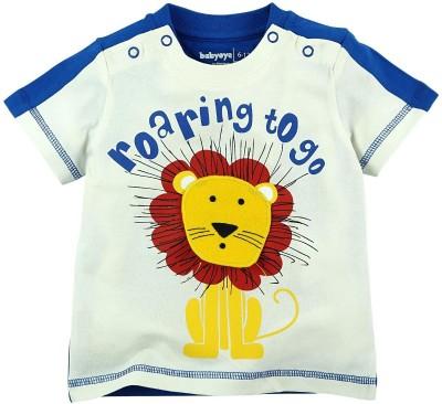 Babyoye Printed Boy's Round Neck Dark Blue T-Shirt