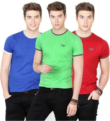 Basics Solid Men's Round Neck Red T-Shirt