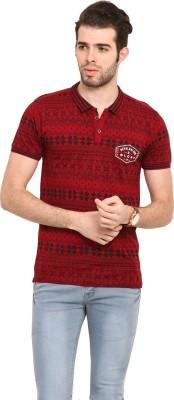 Mode Vetements Printed Men's Mandarin Collar Maroon T-Shirt