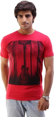 AR Fashions Printed Men's Round Neck Red T-Shirt