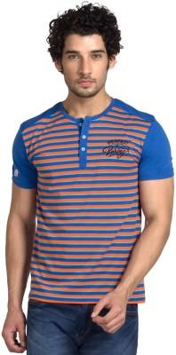 Klub Fox Striped Men's Henley Blue T-Shirt
