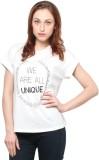 XnY Printed Women's Round Neck White T-S...