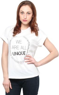 XnY Printed Women's Round Neck White T-Shirt