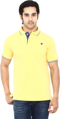 Stackia Solid Men's Polo Neck Yellow T-Shirt