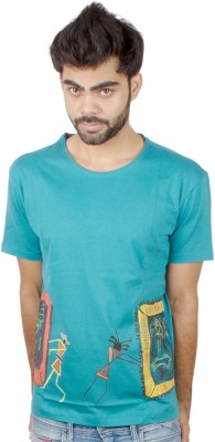Pulpypapaya Printed Men's Round Neck Green T-Shirt