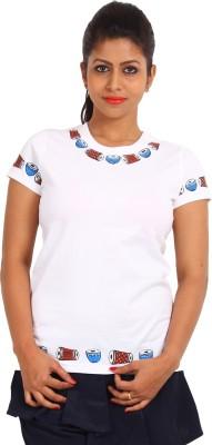 EthnicShack Self Design Women's Round Neck White T-Shirt