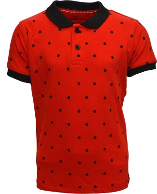 Vinenzia Polka Print Boy's Polo Neck Red T-Shirt